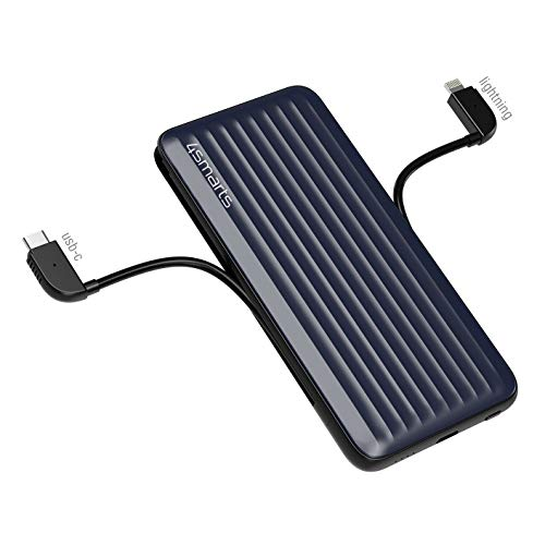 4smarts Batería externa iDuos 10000 mAh 20 W con PD, cables integrados [certificado MFi ] – azul/negro