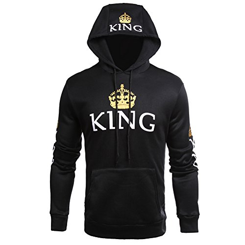 ZZhong Queen King Printed Hooded Sweatshirt Fashion Couples Pullover Hoodie Black_Men M
