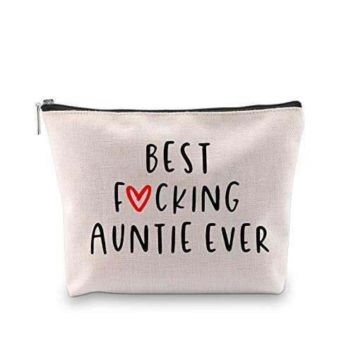 Funny Aunt Present Best Fucking Auntie Ever Auntie Birthday Cosmetic Bag...
