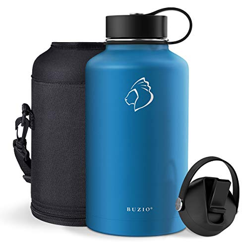 BUZIO Vacuum Insulated Stainless Steel Water Bottle (Cold for 48 Hrs/Hot for 24 Hrs), 64oz Double Walled Wide Mouth Sports Drink Flask with BPA Free Straw Lid and Flex Cap, Cobalt
