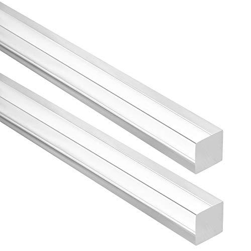 Dumadf Acryl-Platz Rod, Plexiglas Massivholzstock, DIY PMMA Kunststoff-Bar, UV-beständig, transparent Klar, 2ST,4x4mm