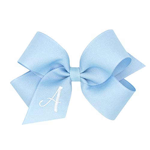 Wee Ones Medium Light Blue Grosgrain Bow with White Initial (Letter K)