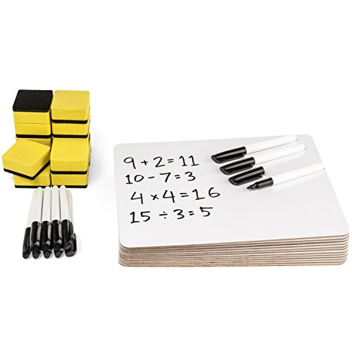 Blue Summit Supplies 12 Pack Dry Erase Lapboard Classroom Set, Includes 12 Whiteboards 9 x 12 Inch, 12 Markers, 12 Erasers, Ideal for Teachers, Students, Sunday School, and Group Projects
