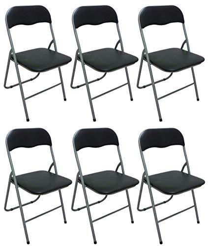 Savino Fiorenzo 6 sedie Sedia Poltrona Pieghevole Nera in Ferro e Metallo Imbottita per Sala Attesa Cucina Salotto Campeggio Bar Ristorante Catering