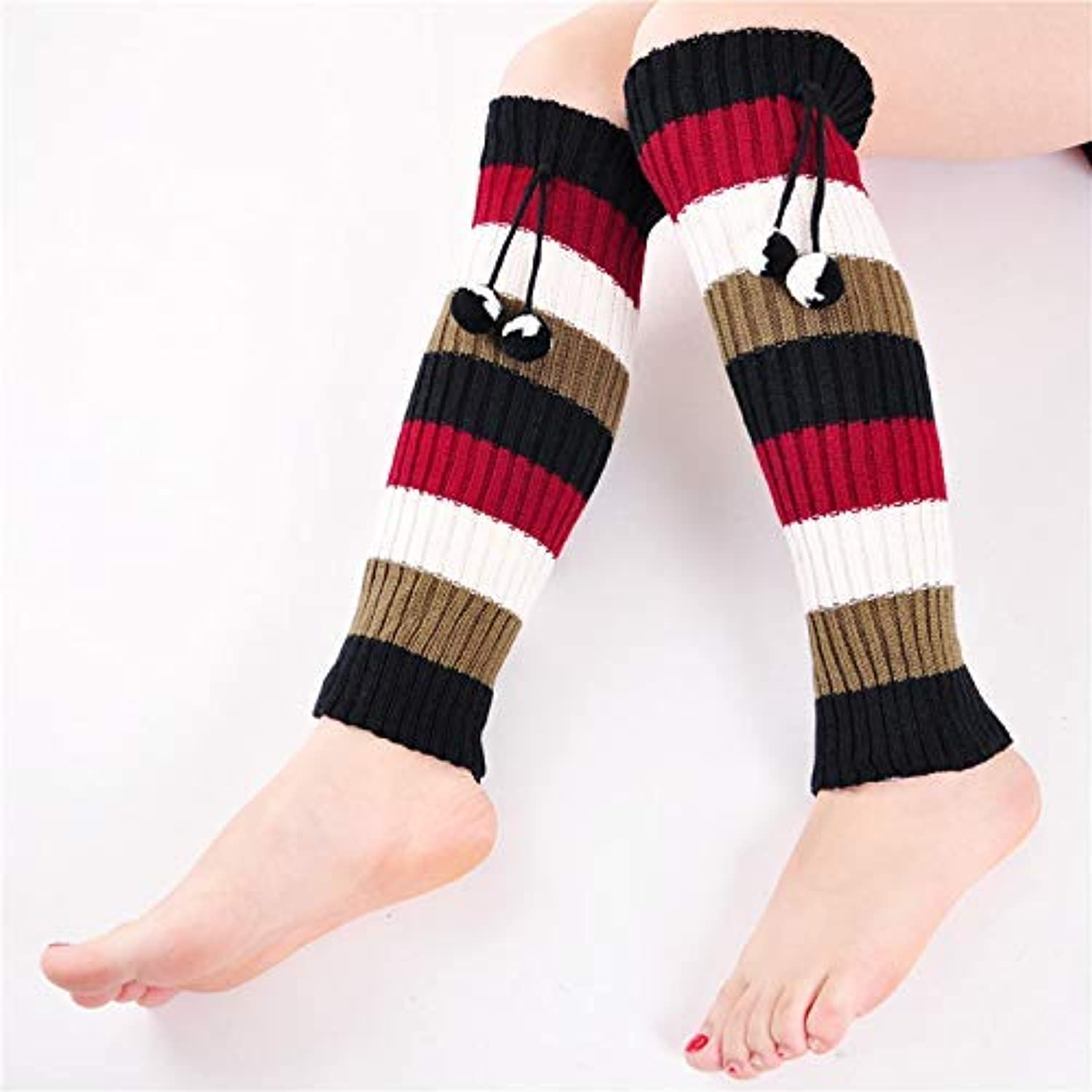 Comfortable Arm Warmer Leg Stocking Autumn and Winter Socks, Long Knee Pads, Warm Leg Sets, Striped Hair Ball Socks, Piles of (color   Red)