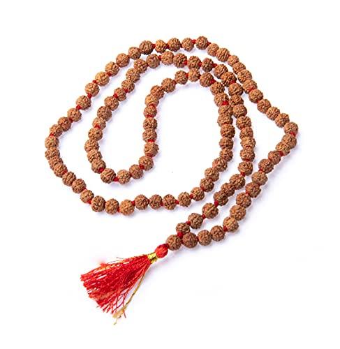 Wonder Care - Auténtico collar Rudraksh Mala con cinco caras, adorno religioso con auténticas semillas Rudraksha del Himalaya, rosario «japa mala», importado de Nepal marrón