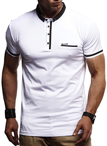 LEIF NELSON Men's Modern Basic T-Shirt with Buttons Shortsleeve Polo Sweater Jacket Slim Fit LN1280; X-Large, White