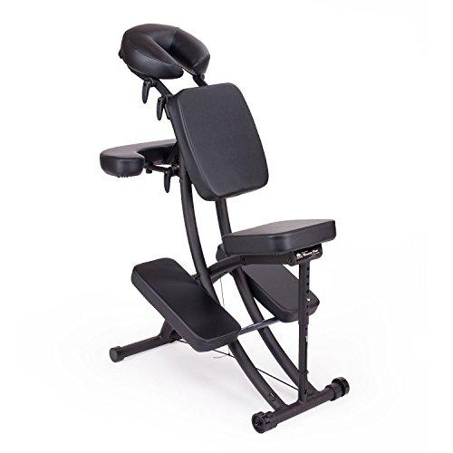 Oakworks Pro Paket, Massagestuhl (coal-schwarz), klappbar, mobil, als Komplettpaket mit passender Transporttasche und Papier-Kopfstützbezügen (100 Stk.), vielseitig verstellbarer Therapiestuhl, hochwertige Markenqualität aus den USA