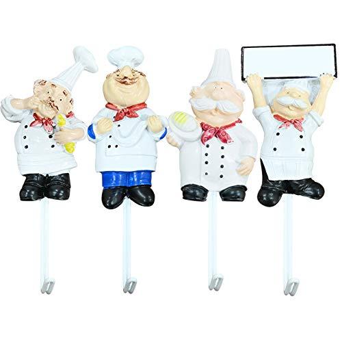 Küchenutensilien-Hängeregal mit Cartoon-Koch-Optik, wasserdicht, stark klebend, Edelstahl, Wandhaken für Küchenutensilien und Gadgets, 4 Stück