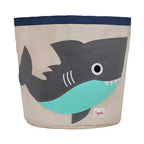 3 Sprouts Canvas Storage Bin - Laundry and Toy Basket for Baby and Kids Shark