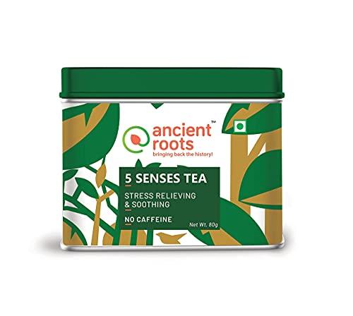 Ancient Roots India 5 Senses Herbal Tea Mix, Natural Spice Mix Tea, Herbal Green Tea, Green Tea with Herbs, Immunity Booster, Green tea Powder Classic Tulsi Green Tea Helps in Digestion, No Preservative - 80 Gram