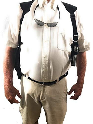 Bama Belts and Leathers Deluxe Shoulder Holster fits Glock 19, 19x, 25, 32, 38, 45 or 48 Double Magazine Pouch Use Right or Left Handed