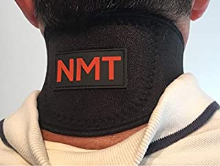 Neck Wrap by NMT ~ Pain Relief for Women and Men, Sleep Apnea, Arthritis, Migraine, Headache, Health, Swelling, Stiff ~ Portable Black Brace ~ New Flexible Cervical Support Collar ~ Physical Therapy