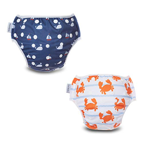 MAMA DUCK Reusable, Adjustable and Washable Baby Swim Diaper. (8-35lbs) 2 Packs Blue