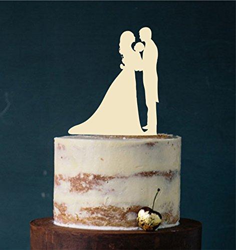 Cake Topper Paar mit Kind #11 Acryl, Tortenstecker, Tortenfigur, Hochzeitstorte (Elfenbein) Art.Nr. 5133