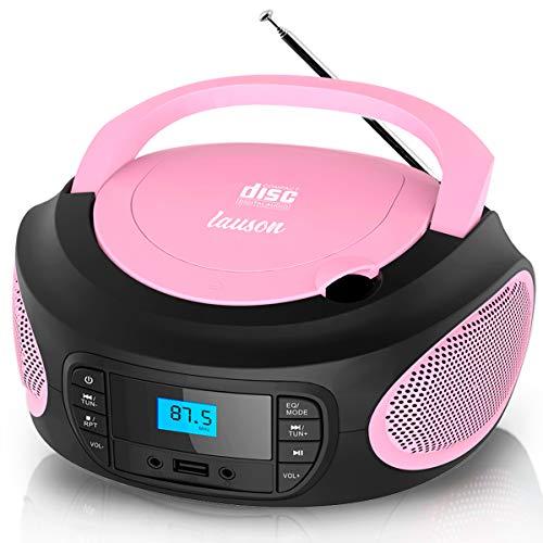 Lauson LLB995 Tragbarer CD-Player, CD-Radio, Boombox, CD Player für Kinder, kinderradio mit cd und USB, Stereoanlage, LCD-Display, Netz & Batterie, Pink, Rose