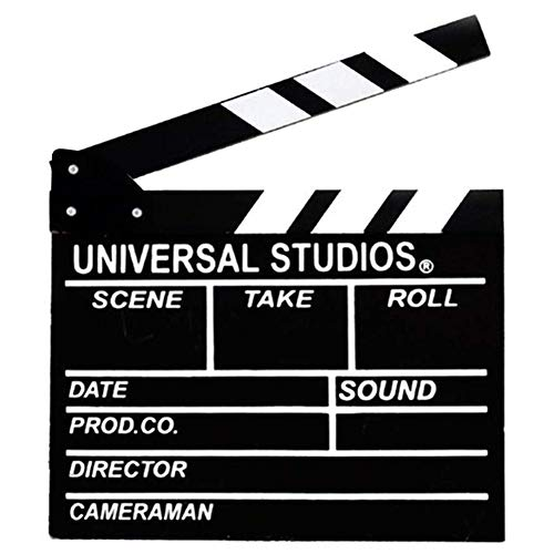 Movie Film Clap Board, 12'x11' Hollywood Clapper Board Wooden Film Movie Clapboard Accessory with Black & White