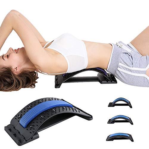 Ydshyth Dispositivo de Soporte Lumbar, Camilla Masajeador de Columna Lumbar Equipo para Aliviar el Dolor Espinal Masajeador de Espalda, 3 Niveles Ajustables