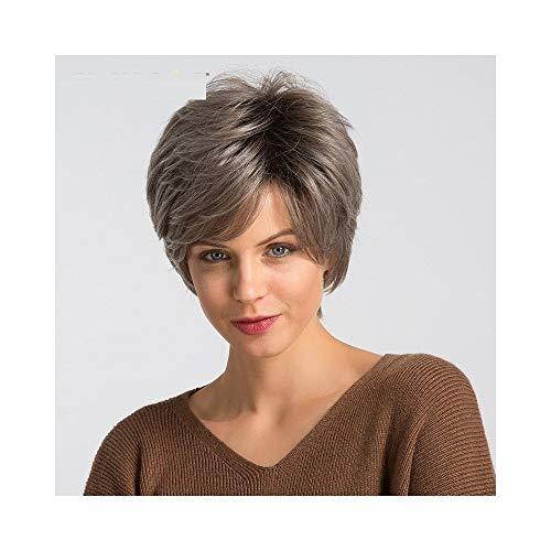 W.Z.H.H.H Postizos para Las Mujeres Peluca sintética de 6 Pulgadas Blend 50% Cabello Humano for Mujer Ombre Grey Blonde Fashion Pixie Cut Cosplay Party Peluca Peluca de Pelo