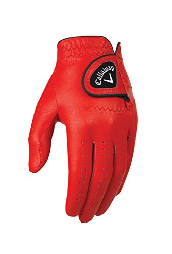 Callaway Golf Men's OptiColor Leather Glove, Red, Medium/Large, Worn...