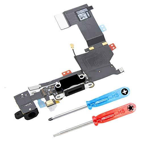 MMOBIEL Dock Connector kompatibel mit iPhone 5S (Schwarz) USB Ladebuchse Port Flex inkl 2X Schraubenzieher