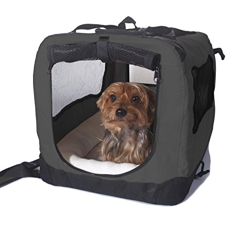 2PET Foldable Dog Crate - Soft, Easy to Fold & Carry Dog Crate for Indoor & Outdoor Use - Comfy Dog Home & Dog Travel Crate - Strong Steel Frame, Washable Fabric Cover - Medium, Grizzle Grey