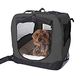2PET Foldable Dog Crate – Soft, Easy to Fold & Carry Dog Crate for Indoor & Outdoor Use – Comfy Dog Home & Dog Travel Crate – Strong Steel Frame, Washable Fabric Cover