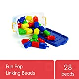 Excellerations Fun Pop Linking Beads with Storage Bin 28 Pcs Snap Together, Pull Apart Large Plastic Beads, Great for Toddlers, Preschoolers, Early STEM Toy Develops Fine Motor Skills (Item # FUNPOP)