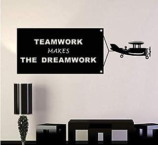 (Support Personnalisation) 1 Pcs Stickers Muraux Teamwork Make Dreamwork Sticker Mural Pour Bureau Chambre Bureau Décorati...