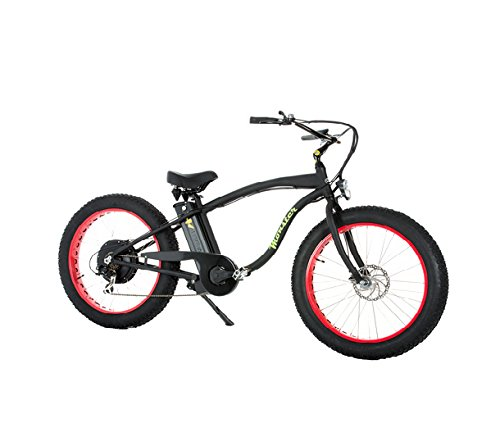 Marnaula Monster 26 - Bicicleta Eléctrica - Cuadro ALU Hidro TB 7005 - Llantas: 26 - Shimano Alivio 6 velocidades - Shimano Alivio 14-28 Dientes - para rodar por la Nieve o la Arena (Negro Mate)