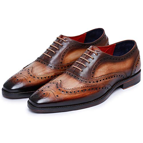 Lethato Wingtip Brogue Oxford Handcrafted Men's Genuine Leather Lace up Dress Shoes- Brown