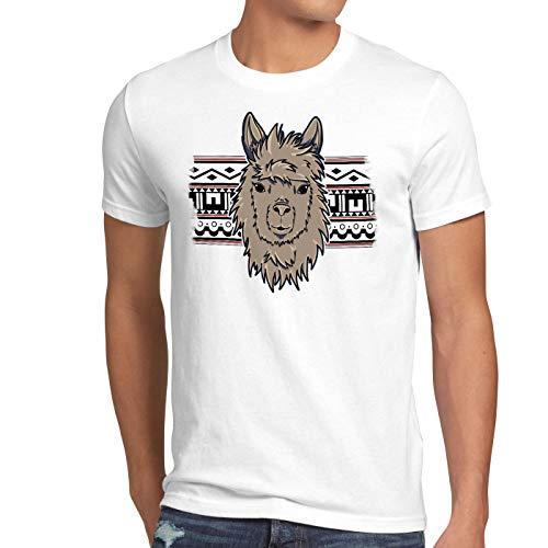 style3 Alpaca Muster Herren T-Shirt Aztek lama alpaka Nerd Hipster Einhorn, Größe:XL