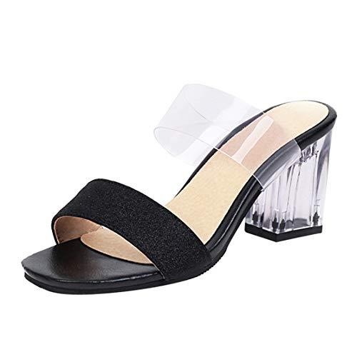 MISSUIT Damen Glitzer Pantoletten mit Blockabsatz High Heels Sandalen Transparent Mules Pantoffeln Outdoor Slipper(Schwarz,38)