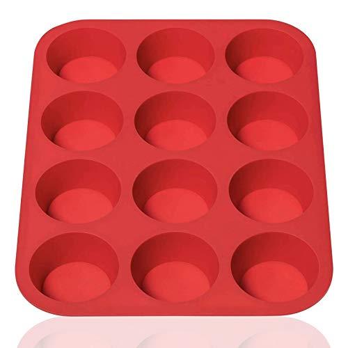 Hangnuo - Bandejas de silicona para magdalenas, 12 tazas para magdalenas, moldes antiadherentes, aptos para lavavajillas, microondas (rojo)