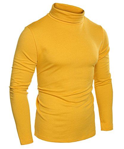Coofandy Mens Casual Basic Thermal Turtleneck Slim Fit Pullover Thermal Sweaters, Yellow, XX-Large
