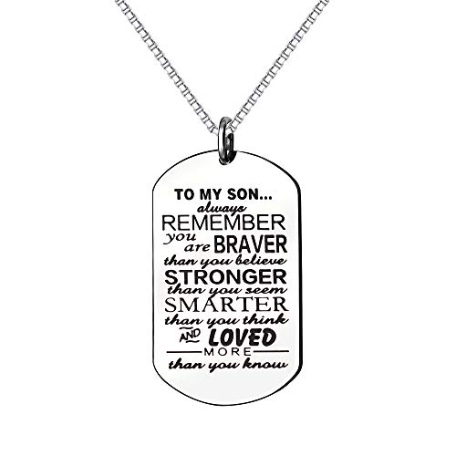 KENYG Inspirational Necklace To My Son Dog Tag Box Chain Venetian chain Necklace Mens Fashion Jewellery