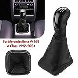 BANIKOP 5-Gang Auto Schalthebel Hebel Schaltmanschette Manschettenabdeckung PU Leder | Schaltknauf ||, Für Mercedes/Benz W168 A Klasse 1997-2004