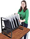 Line Leader 14 Unit Open Charging Cart for Tablets, Chromebooks & More | Place Under Desk or On Desk w/Removable Wheels | 14 Bay Tabletop Cart with UL-Listed Power Strip and Cord Management! (1 Cart)