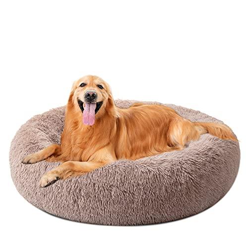 DanceWhale Redonda Cama Perro Gato Cama Cama de Felpa para Mascota Lavable Sofa Suave Cachorro Calentito Cojín(100cm, Marrón)