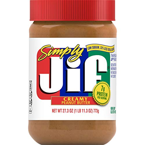 Simply Jif Creamy Peanut Butter, 27.3 Ounces, 7g (7% DV) of Protein per Serving and 33% Less Sugar Than Regular Peanut Butter, Smooth, Creamy Texture, No Stir Peanut Butter