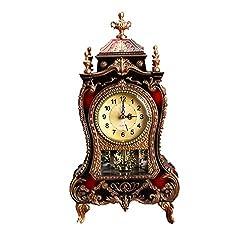 BESPORTBLE Elegant Decorative Grandfather Clock European Style Modern Mantel Clock for Shelf Table Top Desk Buffet Countertop Retro Antique Home Decoration Brown No Battery
