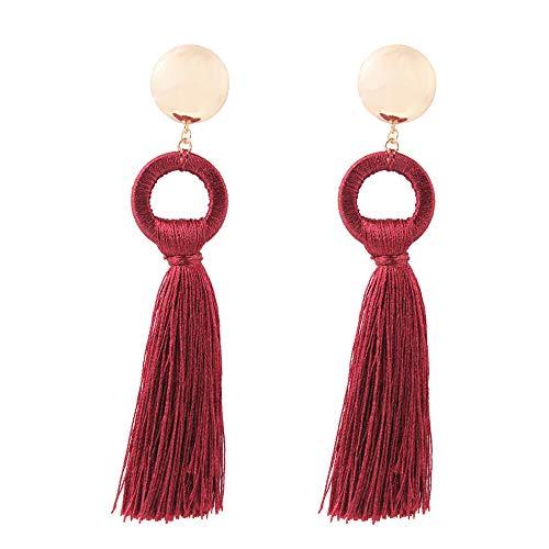 YAZILIND simple estilo borla colgante gota cuelga pendientes joyas de regalo de las mujeres (Claret)