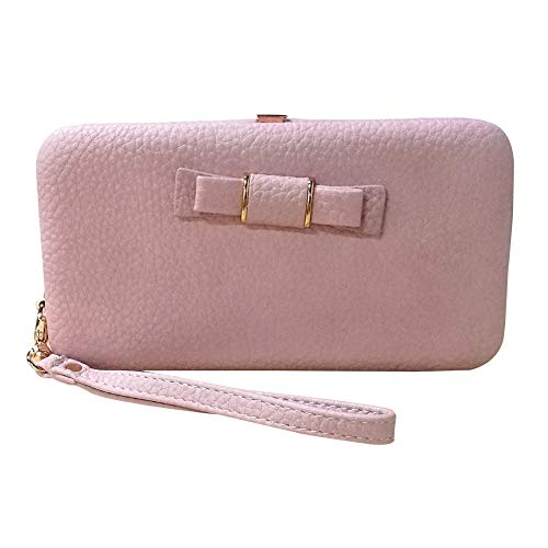 Coopay Wallets for Women/Girls, Ladies Wallet Purse with Wrist Strap, PU Leather Woman Clutch Zipper Pocket Card Holder Organizer for iPhone XR X 8 7 6s Plus/Galaxy Note 9 8 S9 S8 Plus J3/ LG, Pink