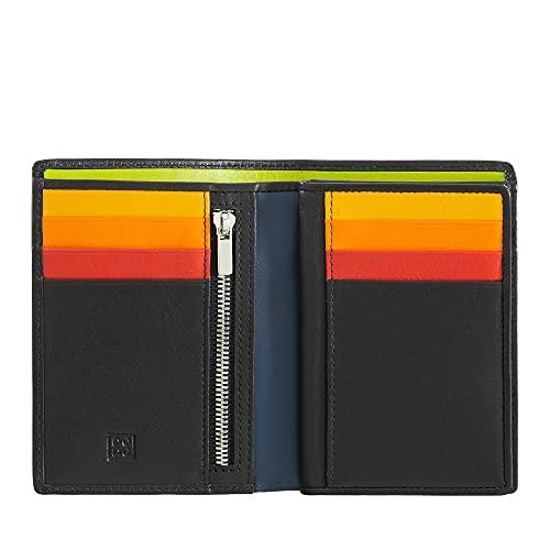 DUDU Portafoglio da uomo a libro RFID in pelle multicolore con lampo Nero