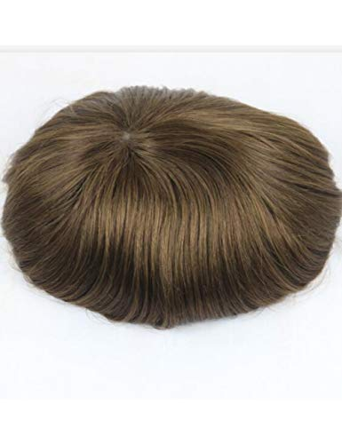 JKDKK perruques Thin Skin Toupee Men Real Human Hair Pieces Natural Hairline Virgin Hair Replacement System , 7X9,4# Wave