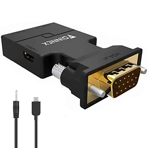 VGA auf HDMI Adapter mit Audio (Alter PC zu TV/Monitor mit HDMI Converter),FOINNEX 1080p Aktiv VGA Buchse zu HDMI Stecker Konverter/Wandler für Computer, Beamer, Laptop, PC, Monitor, Projector, HDTV