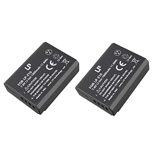 LP-E10 Battery Pack, LP 2-Pack Replacement Battery, Compatible with Canon EOS Rebel T7, T6, T5, T3, T100, 4000D, 3000D, 2000D, 1500D, 1300D, 1200D, 1100D & More (Not for T3i T5i T6i T6s T7i)