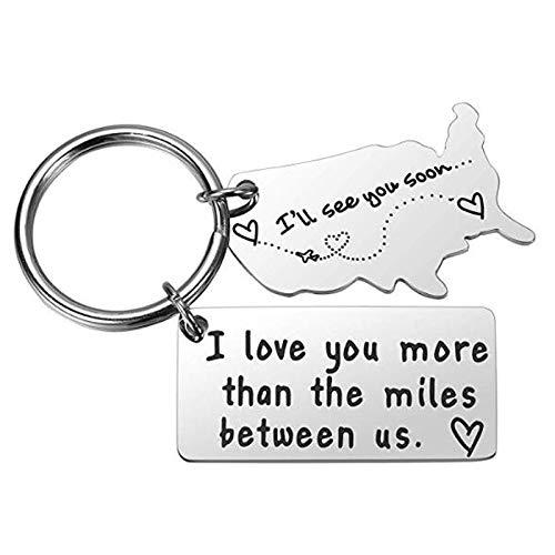 Inveroo Liebe Schlüsselanhänger Für Paare Ich Liebe Dich Mehr Als Die Meilen Zwischen Uns Fernbeziehung Freund Freund Geschenk Weggehen Zustand