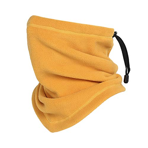 Omeneex NeckWarmerDrawstringHeavyweight Neck Gaiters 350g Thick Stretch Polar Fleece Washable Heavyweight for Chilly Cold Weather for Men Women Skiing Cycling Motorcycle Running Biking(Yellow)