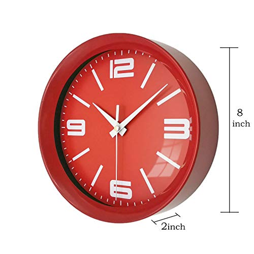 """OuYun 8"""" Red Silent Kitchen Wall Clock Battery Operated Easy to Read Non-Ticking Quartz Clock"""